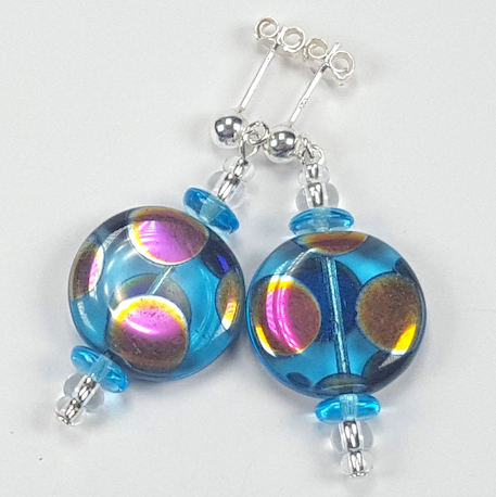 Aqua disc multi spot post earrings