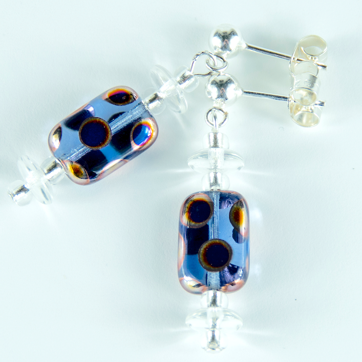 Blue multi spot lozenge post earrings