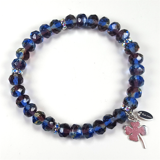 Blue/purple Czech glass stretch bracelet