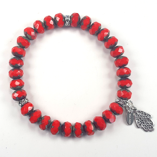 Bright red Czech glass stretch bracelet.