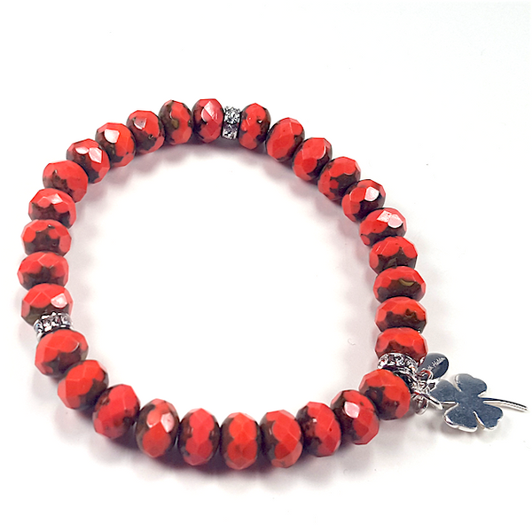 Coral Czech glass stretch bracelet