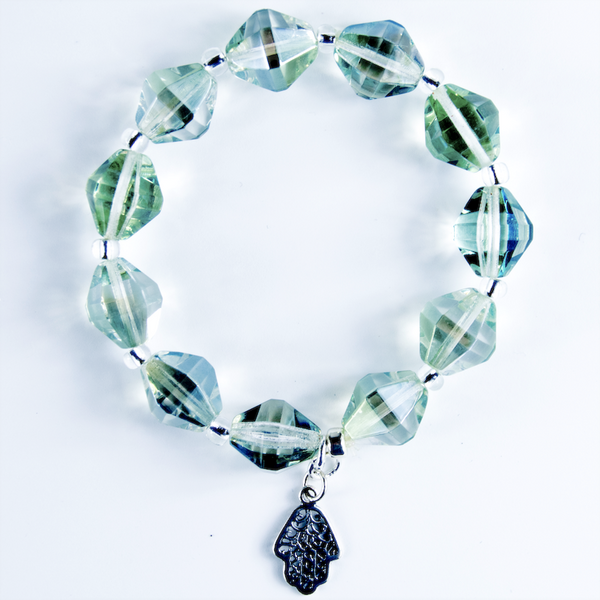 Mint green Czech glass stretch bracelet
