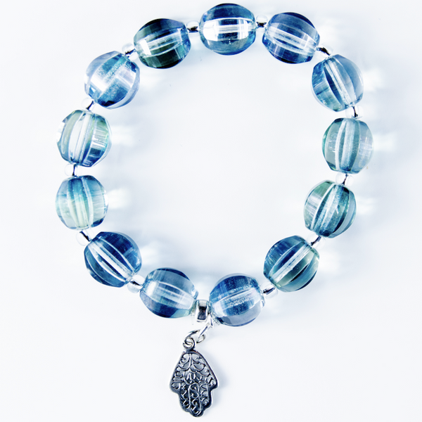 Pale blue Czech glass stretch bracelet