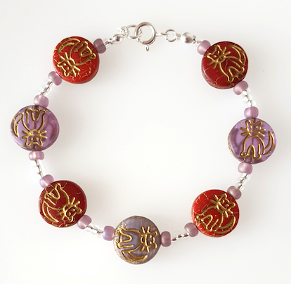 Cats - Red and purple Czech glass bracelet.