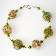Cats - Green and cream bracelet