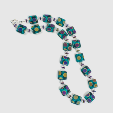 Teal multi spot square bead necklace