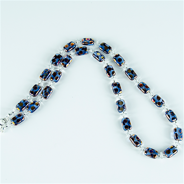 Blue multi spot Czech glass necklace