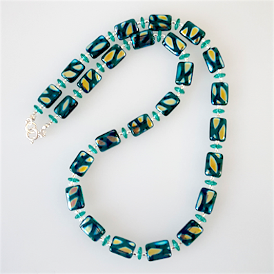 Teal flame lozenge necklace