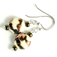 Cream and brown lentil hook earrings