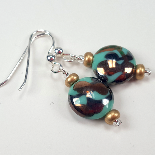 Aqua Lamp-work lentil hook earrings