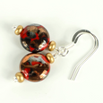 Red Lamp-work lentil hook earrings