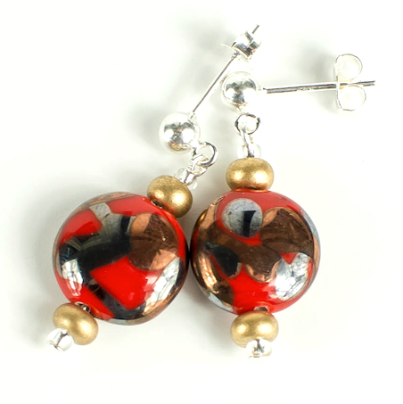 Red Lamp-work lentil earrings