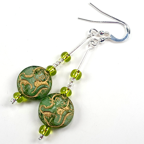 Cats - green glass hook earrings