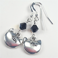 Cats - Pewter/black crystal hook earrings