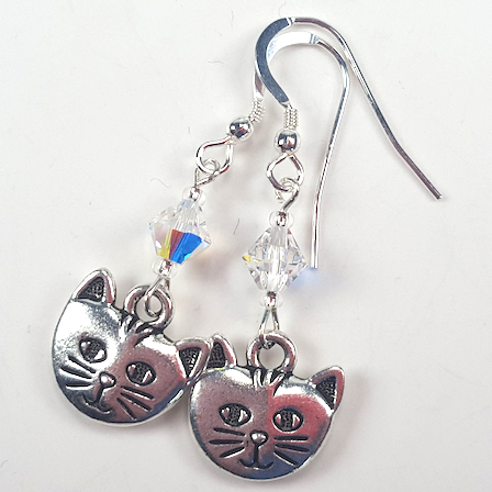 Cats - pewter/crystal hook earrings