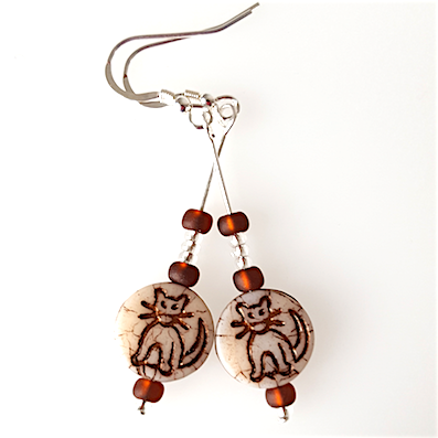 Cats - Biscuit coloured, hook earrings