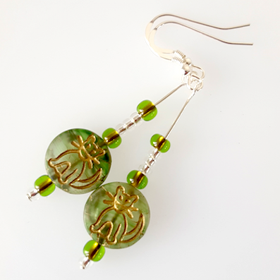 Cats - Green Czech glass hook earrings