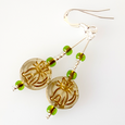 Cats - Pale green hook earrings.