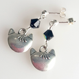 Cat - pewter/black post earrings