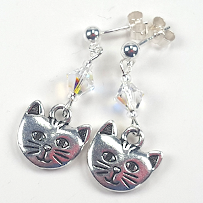 Cats - pewter/crystal post earrings