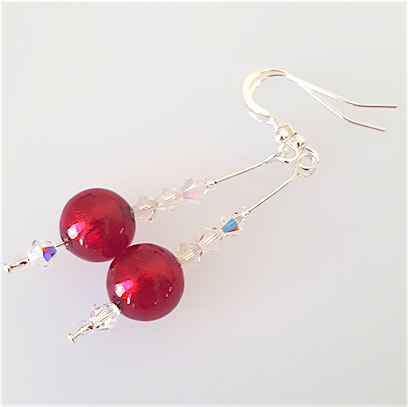 Dark red Murano hook earrings