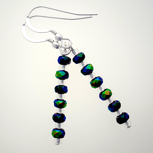 Electroplated hematite donut hook earrings