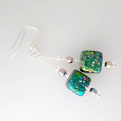 Electroplated lava cube hook earrings