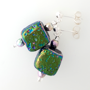 Electroplated lava cube post earrings
