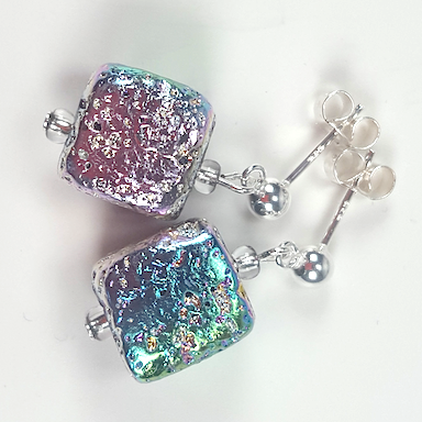 Electroplated Lava pastels post earrings