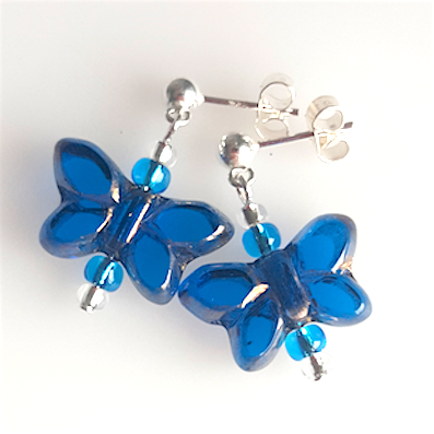 Blue butterfly post earrings