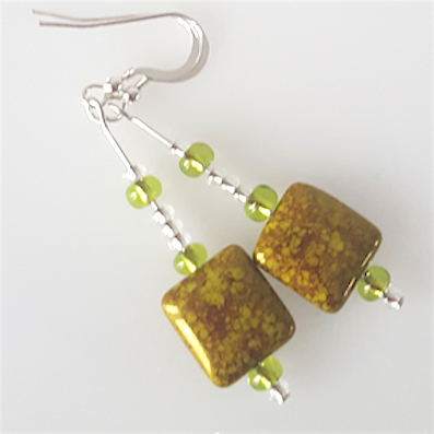 Green/purple pillow hook earrings