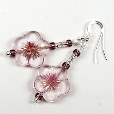 Clear pink cut flower hook earrings