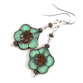 Green 20mm cut flower hook earrings
