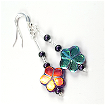 Multi coloured flower hook earrings