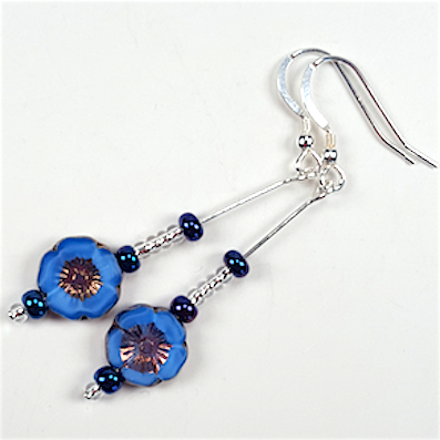 Rich blue Czech glass flower hook earrings