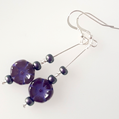 Purple Czech glass 10mm flower hook earrings