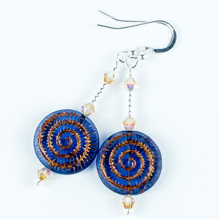 Blue/bronze swirl glass hook earrings