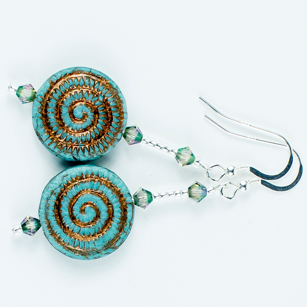 Aqua/bronze swirl Czech glass hook earrings