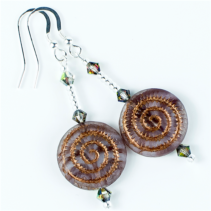 Burgundy/bronze swirl Czech glass hook earrings