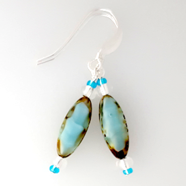 Aqua torpedo hook earrings