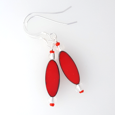 Red torpedo hook earrings