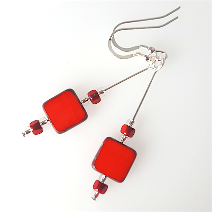 Bright red square glass, hook earrings.
