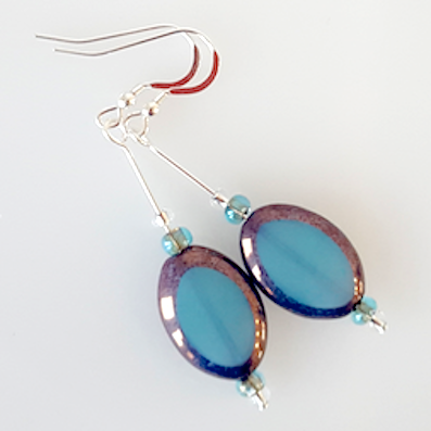 Aqua oval Czech glass hook earrings