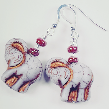 Grey Elephant Earrings.  Shorter, with hooks