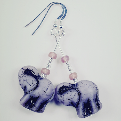Lavender Elephant Earrings.  Long with hooks.