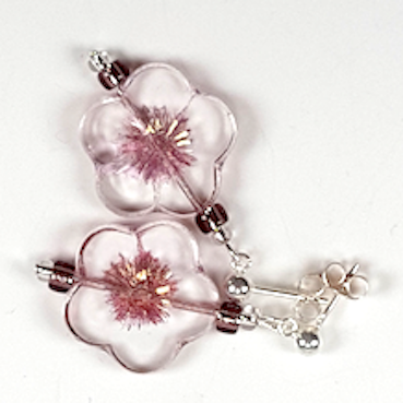 Clear pink cut flower post earrings