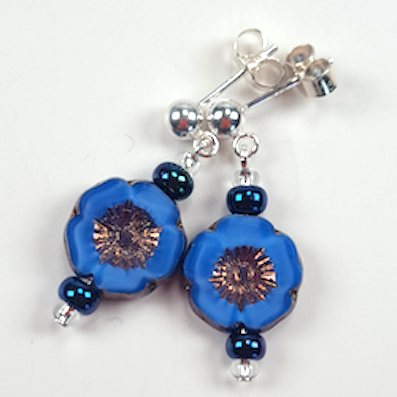 Rich blue Czech glass flower post earrings