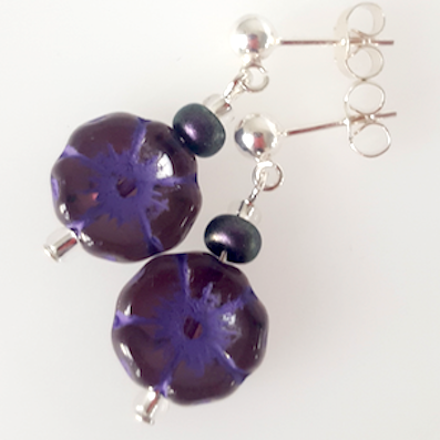 Purple Czech glass 10mm flower post earrings