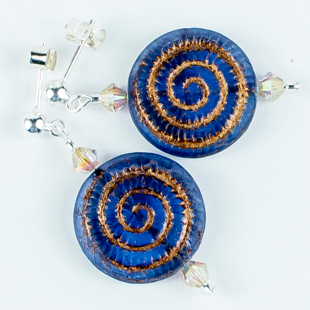Blue/bronze swirl glass post earrings