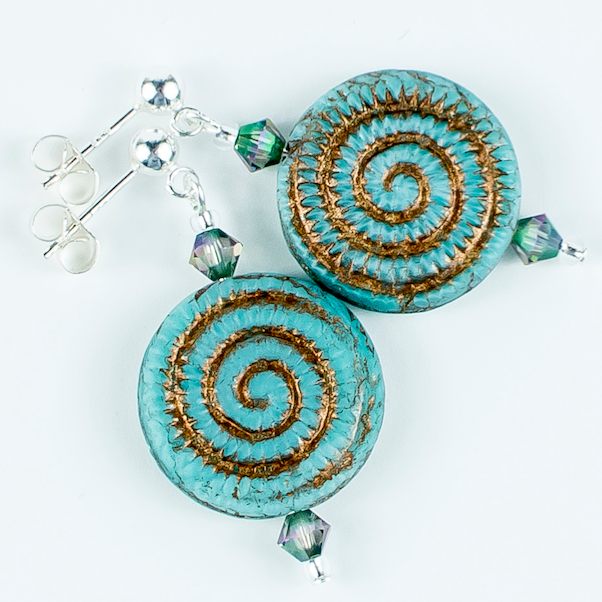 Aqua/bronze swirl Czech glass post earrings